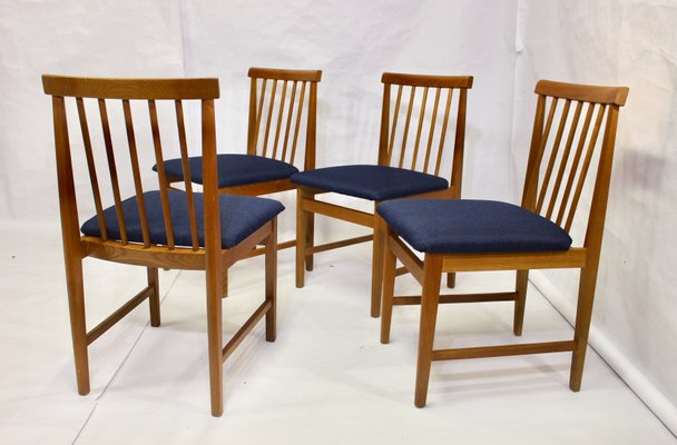 Mid Century Scandinavian Dark Blue Dining Chairs Set Of 4 For Sale At Pamono