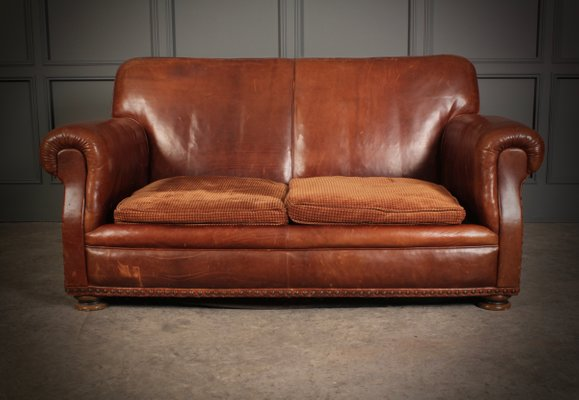 Vintage French Brown Leather Sofa