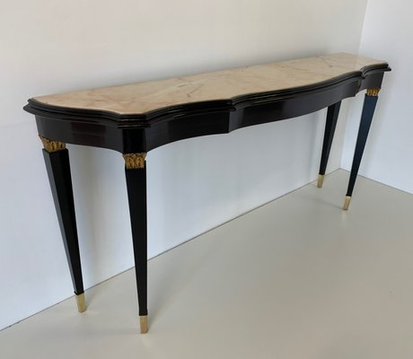 Italian Black And Marble Console Table, 1940s For Sale At Pamono