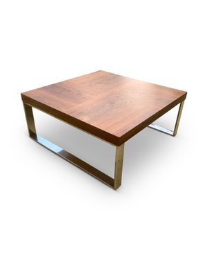 Teak And Chrome Square Coffee Table
