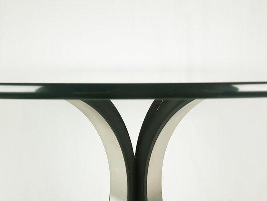 Tavoli Da Pranzo Rotondi In Vetro.Tavolo Da Pranzo Rotondo T69 In Alluminio Nero E Argentato E Vetro