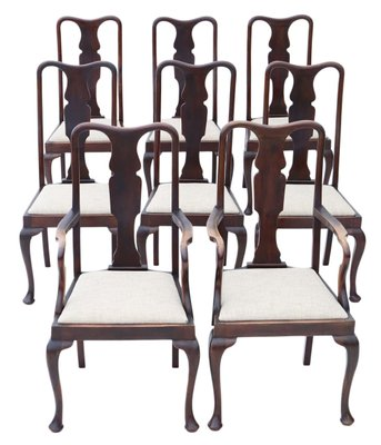 Antique Queen Anne Style Mahogany, Queen Anne Mahogany Dining Chairs
