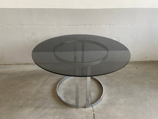 Italian Modern Chrome Smoked Glass Dining Table 1970s For Sale At Pamono