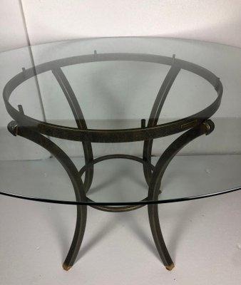 Tavolo In Ferro E Vetro.Tavolo Da Pranzo In Ferro E Vetro Di Pierre Vandel Anni 60 In