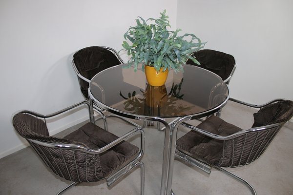 Mid Century Chrome Dining Table Chairs Set By Gastone Rinaldi 1960s Set Of 5 Bei Pamono Kaufen