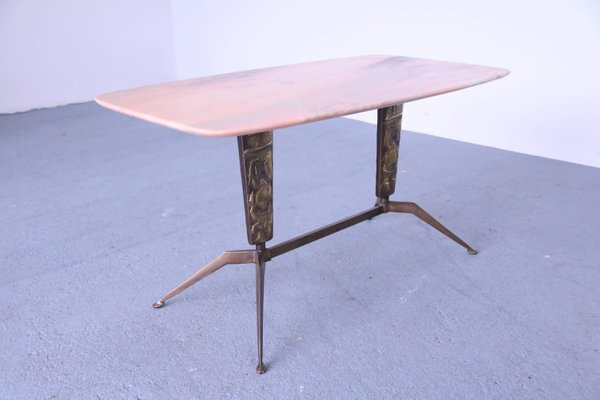 Mid Century Br Marble Coffee Table