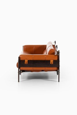 Brazilian Rosewood Leather Sofa By