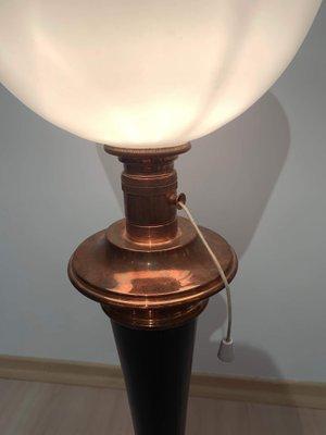 Lampe de Bureau Modèle Mazda Art Déco en Cuivre et Palissandre, France, 1930s