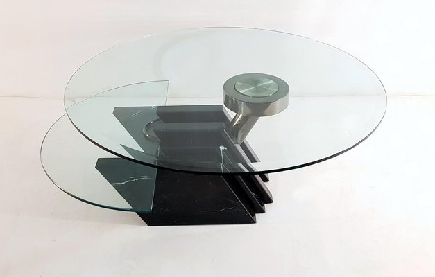 Vintage Italian Black Marble And Glass Swivel Coffee Table 1980s For Sale At Pamono