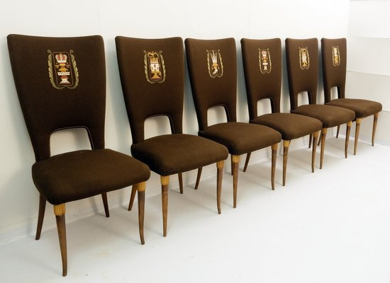 High Back Dining Chairs 1950s Set Of 6 For Sale At Pamono