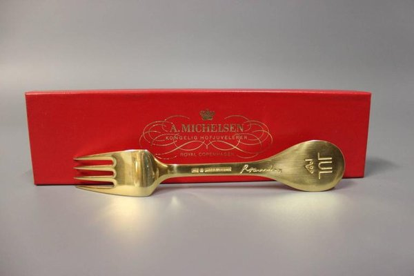 1988 A Danish Gilded Christmas Coffee Spoon Michelsen