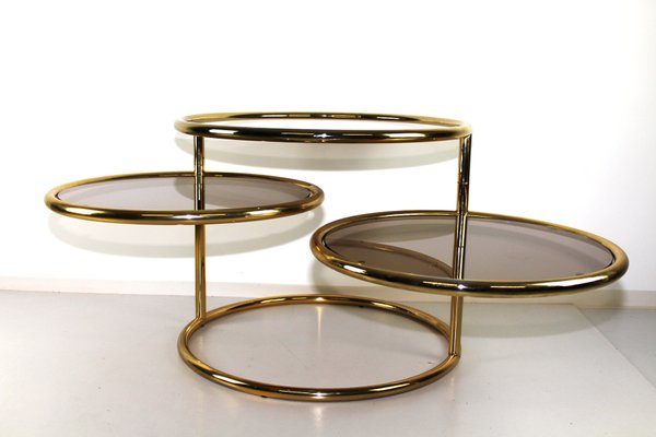 Brass Glass Swivel Coffee Table 1970s For Sale At Pamono