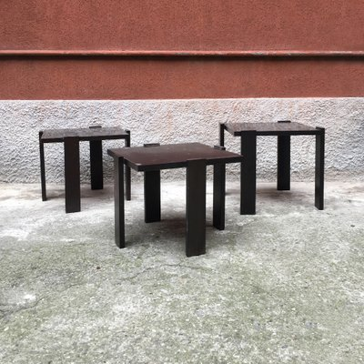 Italian Dark Brown Lacquered Wood Coffee Tables 1970s Set Of 3 For Sale At Pamono