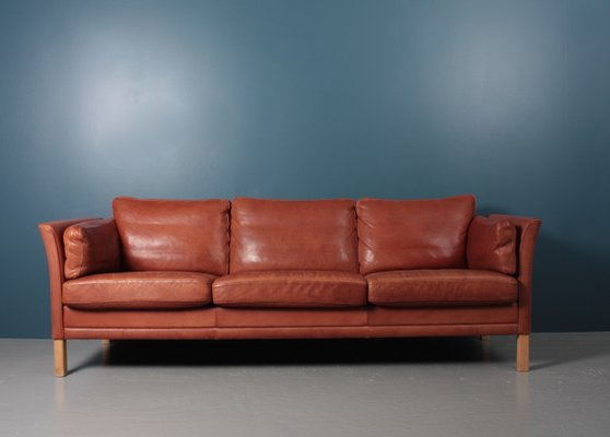 Mid Century Danish Patinated Leather Sofa From Mogens Hansen 1980s For Sale At Pamono