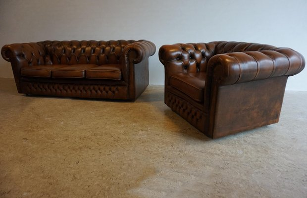 English 3 Seater Chesterfield Sofa