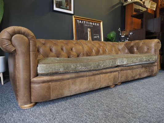 Vintage Brown Leather Chesterfield Style 4 Seater Sofa, 1990s