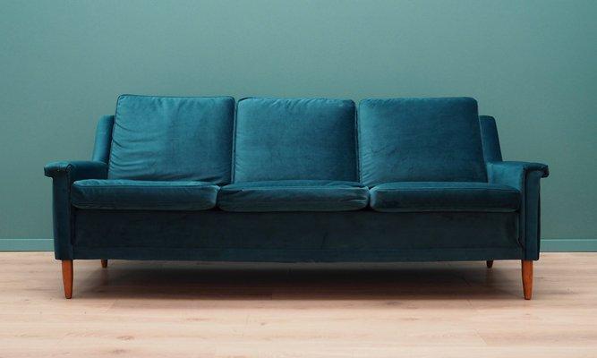Vintage Danish Green Velour Sofa 1960s