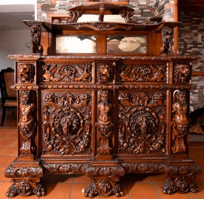 Antique Italian Carved Walnut Sideboard, Antique Buffet Furniture Pieces