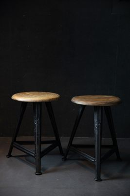 Vintage Industrial Stools By Robert Wagner For Rowac 1930s Set Of