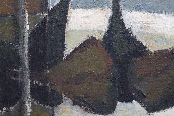 Peinture Nature Morte Avec Bouteilles Et Figues Par Pierre Fournel 1960s En Vente Sur Pamono
