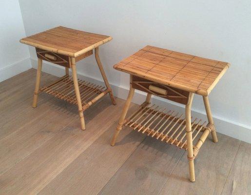Vintage Rattan Side Tables, Set Of 2