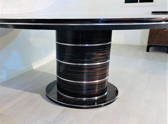 Art Deco Style Round Macassar Dining Table For Sale At Pamono