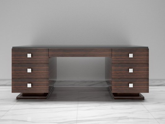 Art Deco Style Macassar And Black Glass Top Desk For Sale At Pamono
