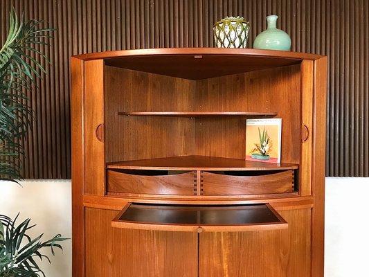 Danish Teak Corner Cabinet With Tambour, Corner Cabinet With Doors And Shelves