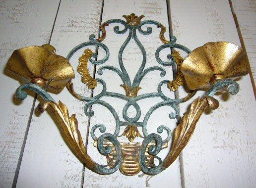 Applique da parete in ferro battuto con foglie dorate set di in