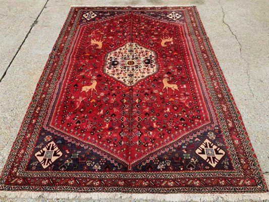 Vintage Traditional Middle East Handmade Wool Shiraz Rug For Sale At Pamono