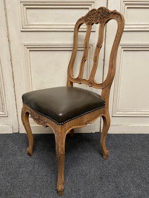 Antique French Oak Leather Dining Chairs Set Of 6 Bei Pamono Kaufen