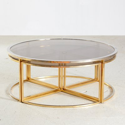 Golden Framed Round Glass Coffee Table, Round Metal And Glass Coffee Table