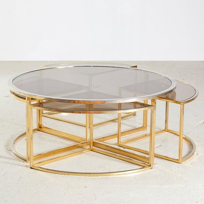 Golden Framed Round Glass Coffee Table And Nesting Tables Set 1960s Set Of 5 For Sale At Pamono