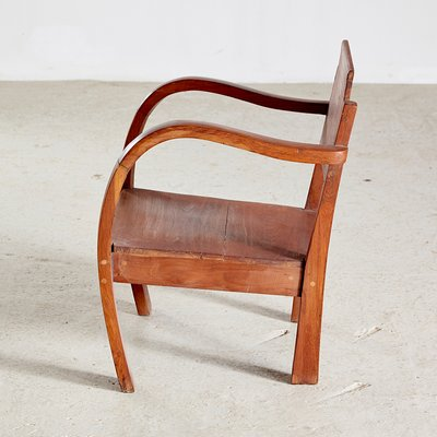 Small Vintage Wooden Armchair 1950s, Small Modern Armchair