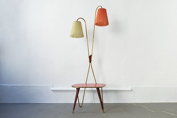 Vintage Floor Lamp And Side Table