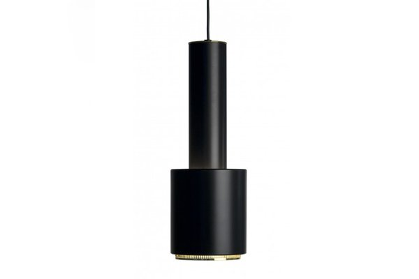 Black & Brass A110 Hand Grenade Ceiling Lamp by Alvar Aalto for Artek, 1950s