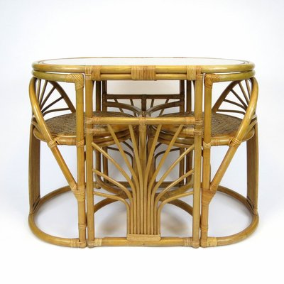 Rattan Dining Table Chairs Set 1970s Set Of 3 Bei Pamono Kaufen