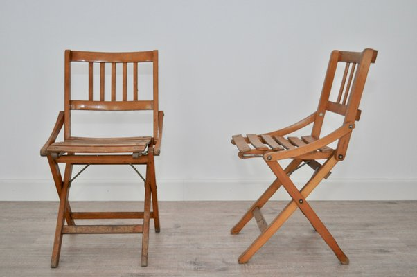 Mid Century Italian Childrens Folding Chairs From Fratelli Reguitti Set Of 2 For Sale At Pamono