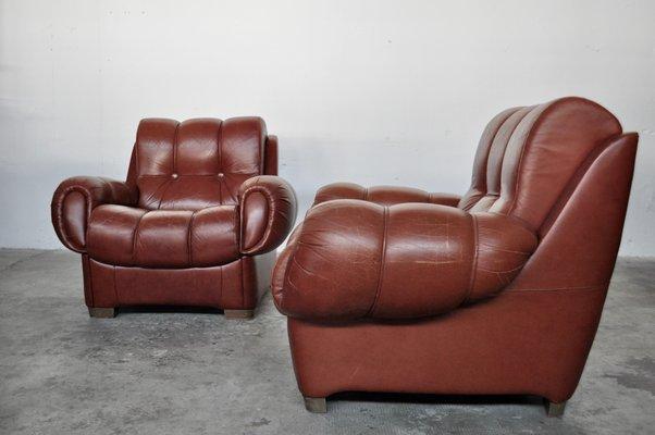 Vintage Italian Leather Sofas 1970s