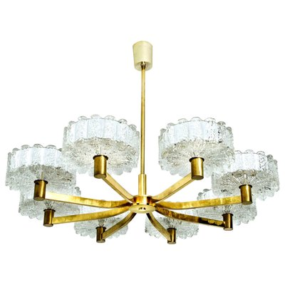 1 of 2 Large Murano Ice Glass and Brass Chandelier by Kalmar