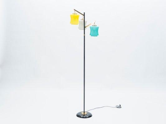 Italian Brass and Murano Glass Floor Lamp from Vistosi, 1950s