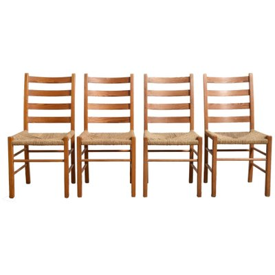 Solid Pinewood Rush Seat Dining Chairs