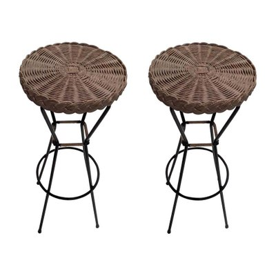 French Rattan Barstools With Black