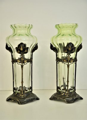 Art Nouveau Gl And Silverplate Vases