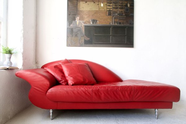 Vintage Leather Chaise Lounge Sofa For