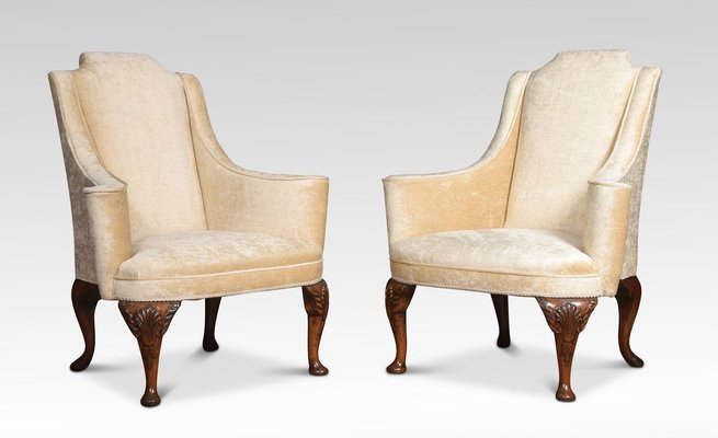 Antique Queen Anne Style Wing Armchairs