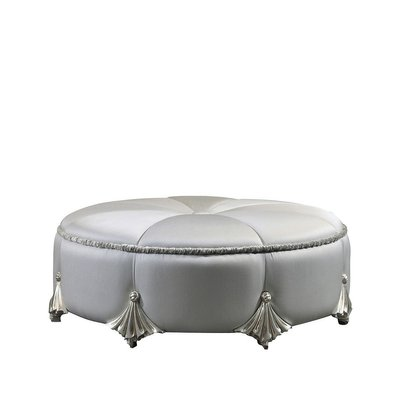 Round Pouf Silver On Wood From C A Spanish Handicraft For Sale At Pamono