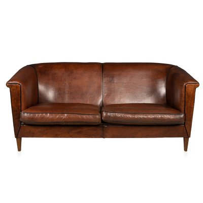 Vintage Dutch 2 3 Seater Leather Sofa