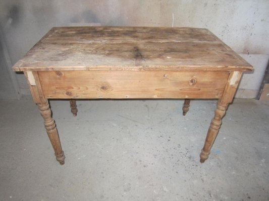 Antique Pine Wood Desk For At Pamono