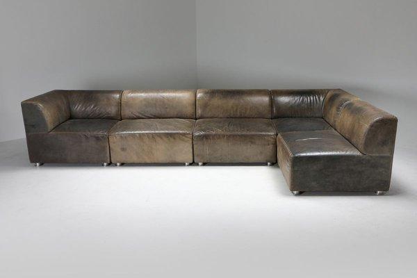 Patinated Leather Modular Corner Sofa